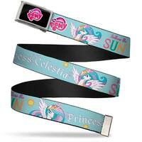 My Little Pony Logo Fcg Black Pink Chrome Princess Celestia 2 Poses Web Belt