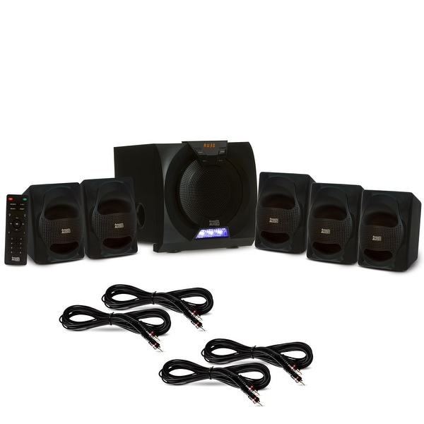 Acoustic Audio AA5230 Home 5.1 Bluetooth Speaker System with LED & 4 Ext. Cables