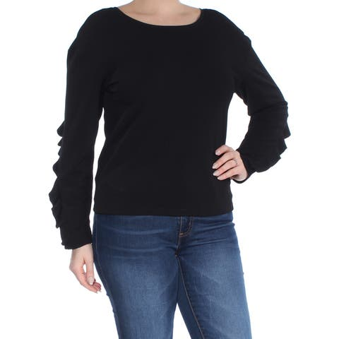 BAR III Womens Black Ruffle-sleeve Long Sleeve Scoop Neck Top Size: L