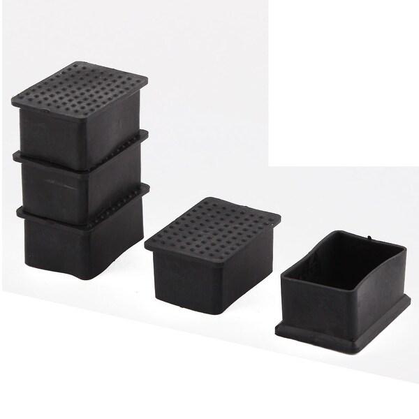 Unique Bargains 5 Pcs Antislip Rubber Rectangle 40mm x 60mm Chair Foot Cover Table Furniture Leg Protector Black