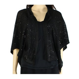 Alfani NEW Black Women's Large L Sequin Open Front Cardigan Sweater