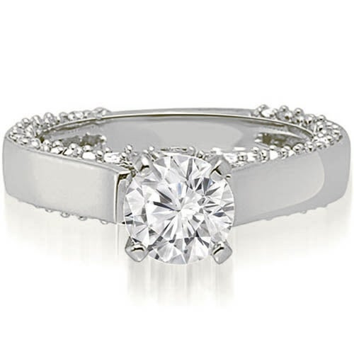 1.40 cttw. 14K White Gold Cathedral Round Cut Diamond Engagement Ring