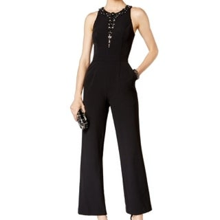 Vince Camuto NEW Black Womens Size 10 Embellished Wide-Leg Jumpsuit