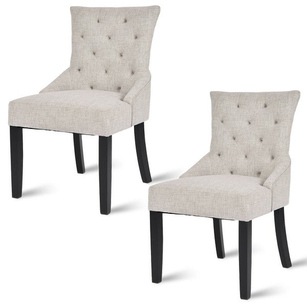 Chaises En Tissus Design: Shop Costway Set Of 2 Dining Chairs Armless Chair Tufted