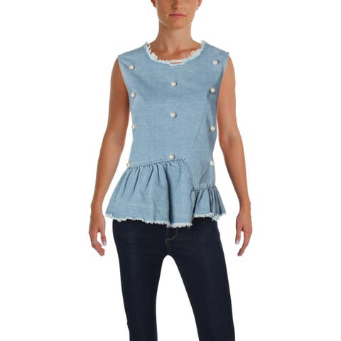 Aqua Womens Peplum Top Denim Pearl