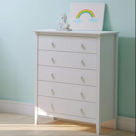 Simplicity Wood 5-Drawer Chest, White,Pine Wood