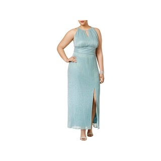 R&M Richards Womens Plus Evening Dress Metallic Halter