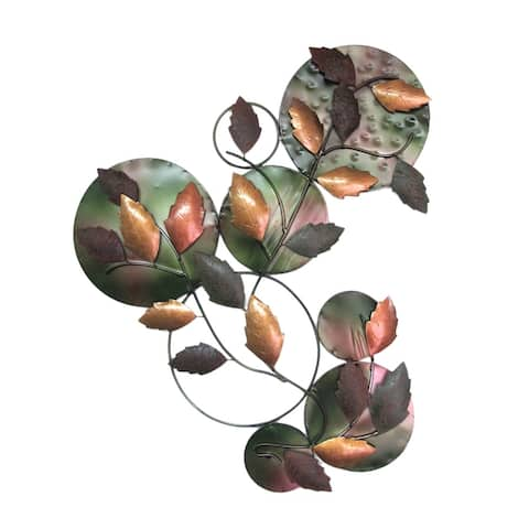 Offex Handmade Iron Leaves Wall Mounting Decor