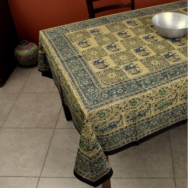 Handmade Elephant Block Print Batik Cotton Tablecloth Rectangular 60x90 inch Red