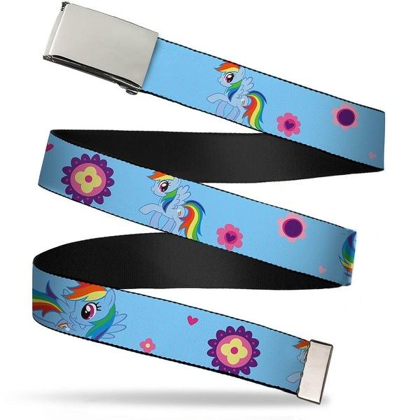 Blank Chrome Buckle Rainbow Dash Poses Flowers Bolt Monogram Baby Blue Web Belt
