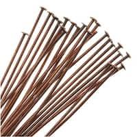 Genuine Antiqued Copper Head Pins 24 Gauge 1.5 Inches (24)