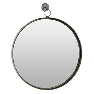 "Aspire Home Accents 6343  Bescott 28"" x 24"" Circular Flat Metal Framed Wall Mounted Accent Mirror - Brown"