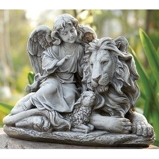 "14.5"" Joseph's Studio Angel with Lion and Lamb Religious Outdoor Garden Figure Statue"