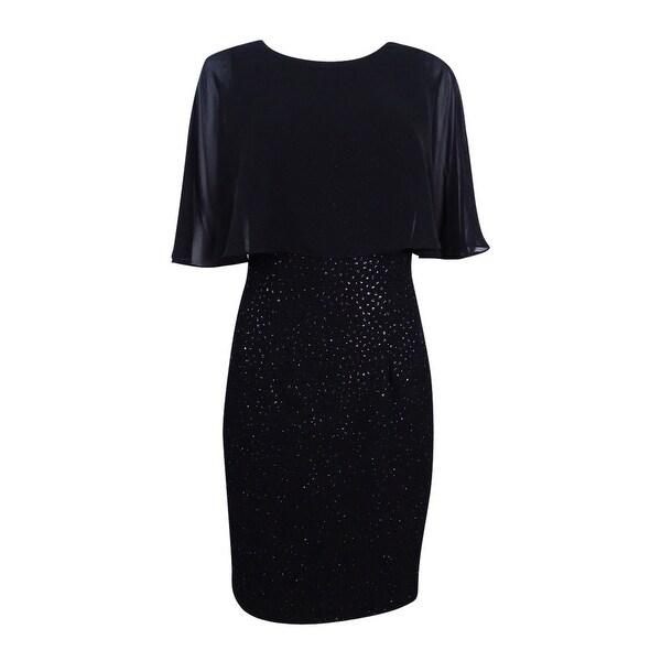 Betsy & Adam Women's Plus Size Chiffon-Popover Dress (14W, Black) - Black - 14W
