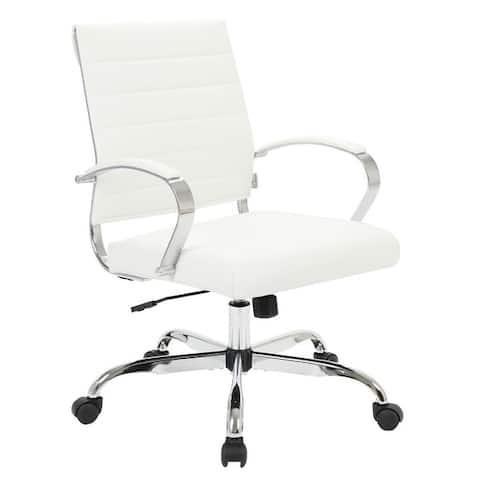 LeisureMod Benmar Mid-Back Swivel Leather Office Chair W/ Chrome Base