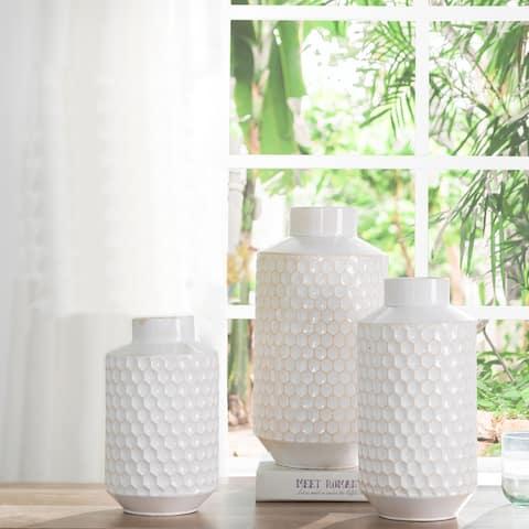 Glitzhome Set of 3 Farmhouse White Metal Vases