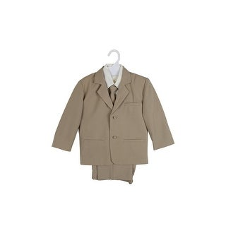 Paperio Boys Formal Suit Set with Ivory Shirt Taupe Khaki - taupe khaki