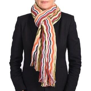 Missoni Women Classic Zig Zag Knit Scarf Shawl Green, Orange and Multi-colors