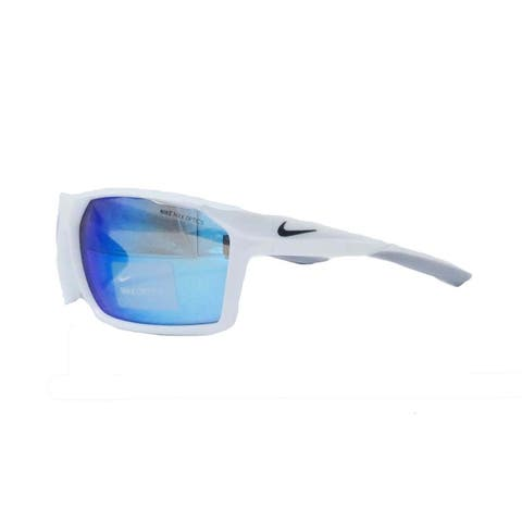 Nike Mens Traverse White/Anthracite/Grey with Blue Mirrored Lens Sunglasses