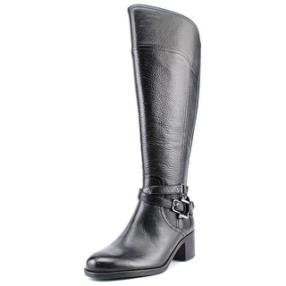 Marc Fisher Kacee Wide Cal Women Round Toe Leather Black Knee High Boot