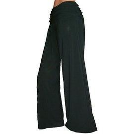 Funfash Plus Size Gaucho Flare Long Black Palazzo Women's Pants