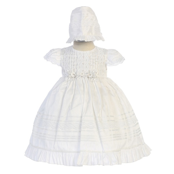 Angels Garment Little Girls White Poly Shantung Shiny Bonnet Baptism Gown