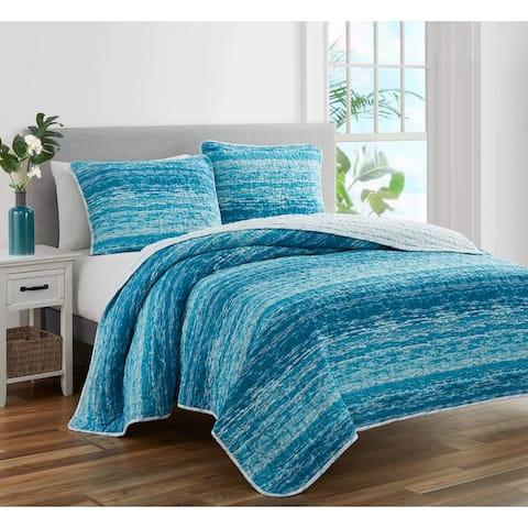 Coastal Stripes Cotton 3 PC Reversible Quilt Bedding Set