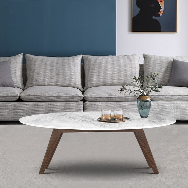 Poly and Bark Riley Marble Oval Coffee Table. Opens flyout.