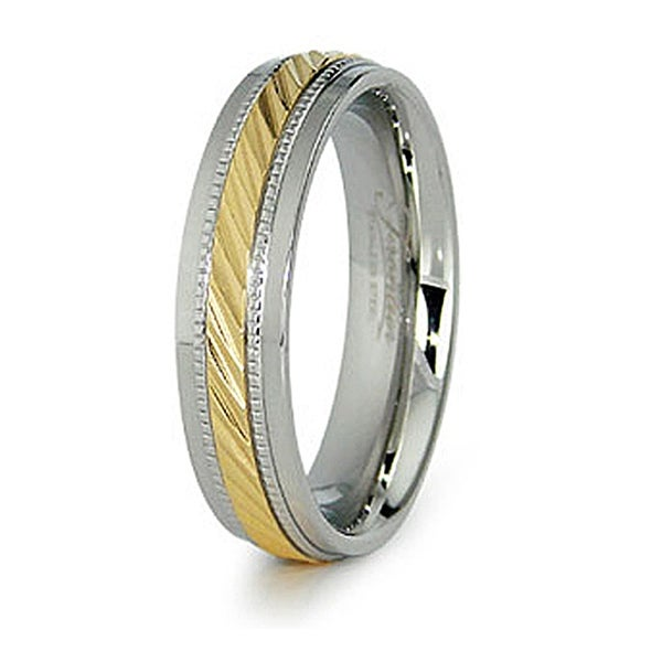 6mm Stainless Steel Ladies' Ring with Gold Plated Center (Sizes 6-8)