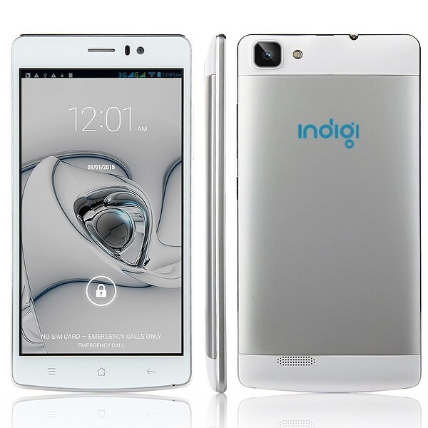 Indigi® V19 Factory Unlocked 3G GSM+CDMA 5.5inch HD Android 4.4 KitKat Dual-Core Dual-Sim Smartphone (White) - Silver/White