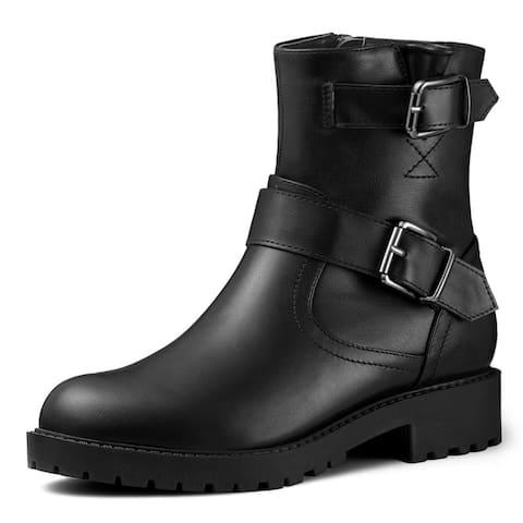 Women's Round Toe Buckle Chunky Heel Mid Calf Combat Boots