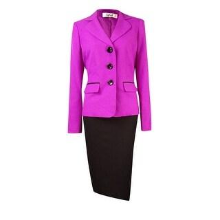 Le Suit Women's Crepe Colorblocked Skirt Suit - orchid/black
