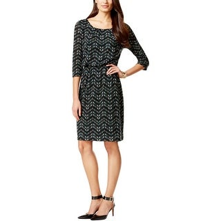 Connected Apparel Womens Casual Dress Printed Blouson
