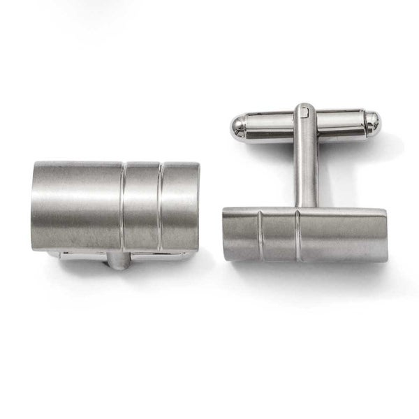 Chisel Brushed Titanium Cuff Links