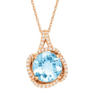 3 1/2 ct Natural Sky Blue Topaz & 1/3 ct Diamond Pendant in 10K Rose Gold