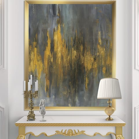 Designart 'Black and Gold Glam Abstract' Modern & Contemporary Framed Art Print