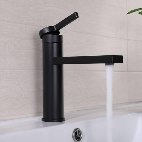 Matte Black Single Hole Bathroom Sink Faucet