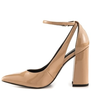 GUESS Womens Braya Pointed Toe Ankle Strap Classic Pumps
