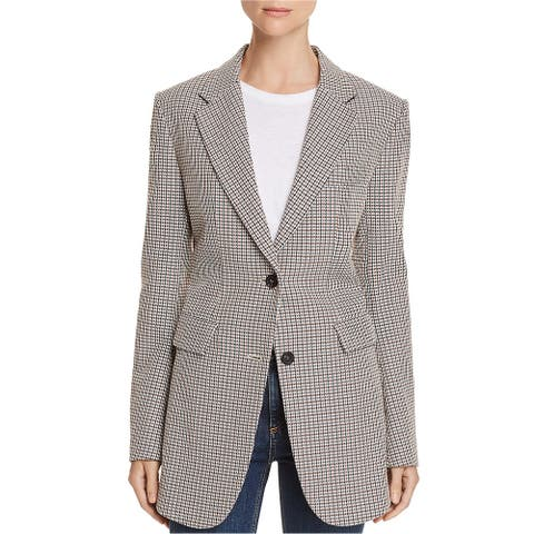 Theory Womens Super Cinched Plaid Blazer Jacket