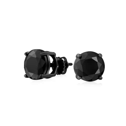 Black On Black Round Solitaire Cubic Zirconia Stud Earrings For Men Women CZ Screwback IP Plated 925 Sterling Silver