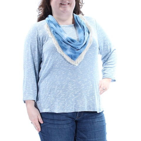STYLE & CO Womens Blue W/ Scarf Long Sleeve Jewel Neck Sweater Plus Size: 2X