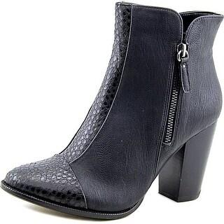 Nina DONOTUSE Women Round Toe Leather Black Bootie