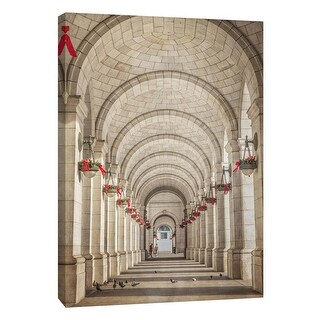 "PTM Images 9-105991  PTM Canvas Collection 10"" x 8"" - ""Union Station Arches Christmas"" Giclee Buildings and Landmarks Art Print"