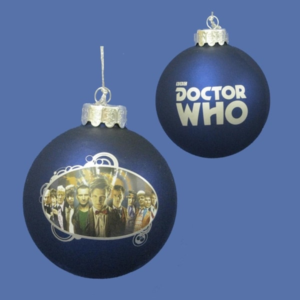 """3.25"""" Doctor Who """"The Many Faces of the Doctor"""" Glass Disc Christmas Ornament - BLue"""