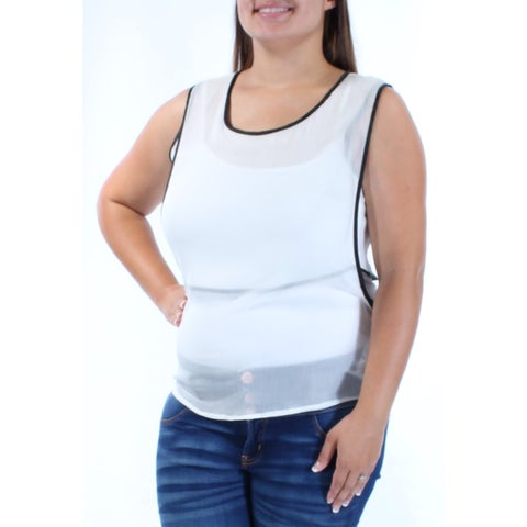 KIIND OF Womens Ivory Sheer Sleeveless Scoop Neck Top Size: L
