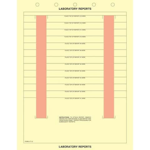"""8-1/2"""" x 11"""" Canary Laboratory Report Sheets, 5 Hole Punch Top, Adhesive Strips Left&Right, Fits 13 Reports(500 per Box)"""