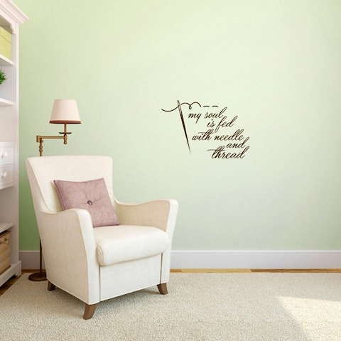 """Needle and Thread Sewing Wall Decal - 24"""" wide x 16"""" tall"""