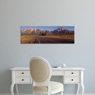Easy Art Prints Panoramic Images's 'Road Grand Teton National Park WY USA' Premium Canvas Art