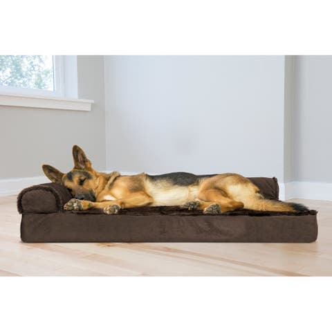 FurHaven Pet Bed Plush & Velvet Deluxe Chaise Lounge Orthopedic Dog Bed