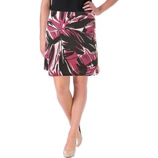 Aqua Womens A-Line Skirt Floral Print Scuba